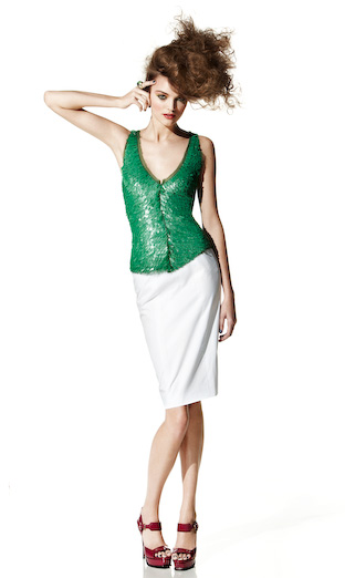 Spring 2009 Collection | Maria Pinto :  spring 2009 green top designer white skirt